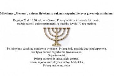 """Minėjimas """"Menora"""", skirtas Holokausto aukomis tapusių Lietuvos gyventojų atminimui"""
