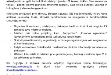 Kviečiame prisijungti prie jaunimo Europos komandos