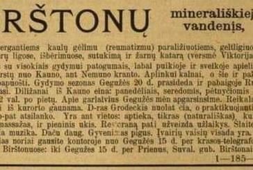 Pirmajai lietuviškai Birštono kurorto reklamai – 107 metai
