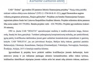 """UAB """" Doleta"""" įgyvendino ES paramos lėšomis finansuojamą projektą"""
