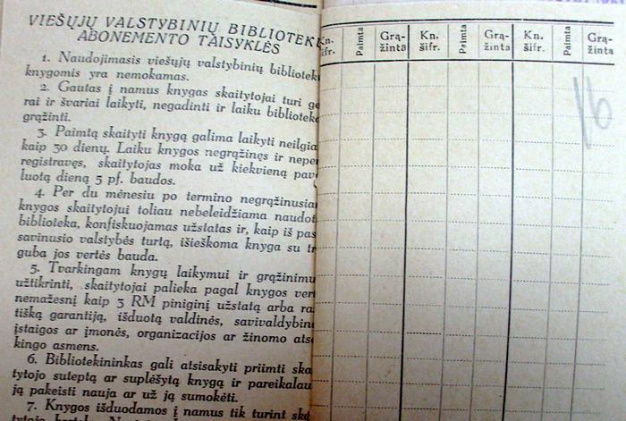 Naudojimosi biblioteka taisyklės 1943 m