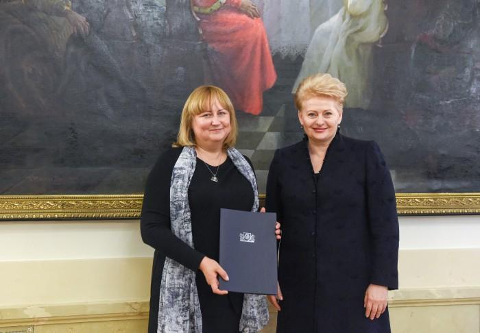 Alina Jaskūnienė ir Prezidentė Dalia Grybauskaitė