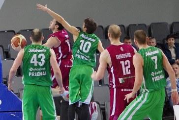 """""""Prienų"""" krepšininkai ketvirtajame kėlinyje išgelbėjo rungtynes, o pratęsimo metu išplėšė pergalę"""