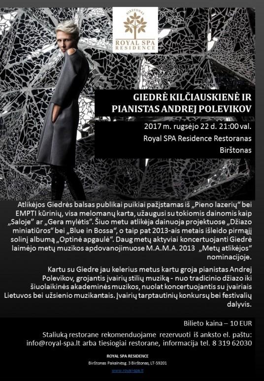 Giedre Kilciauskiene ir pianistas Andrej Polevikov 2017.09.22