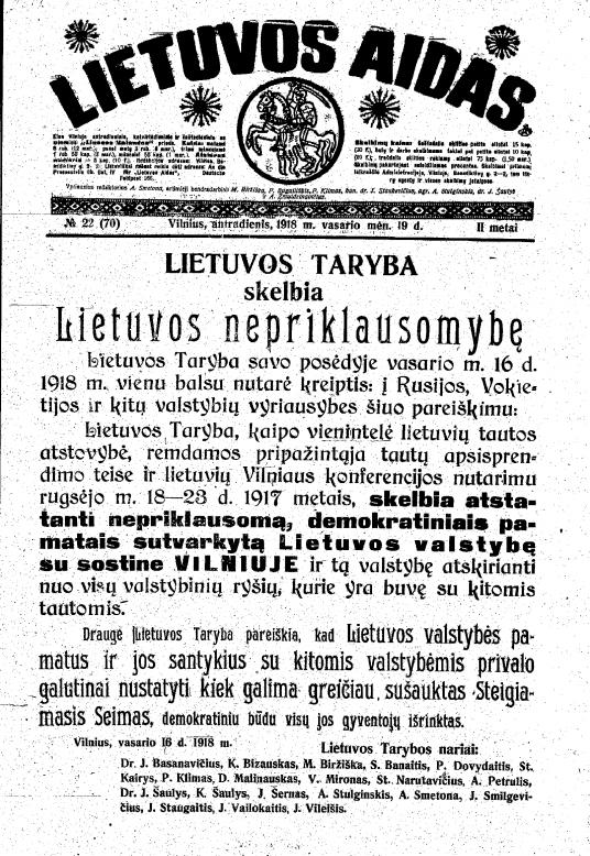 Lietuvos_aidas_1918.02.19