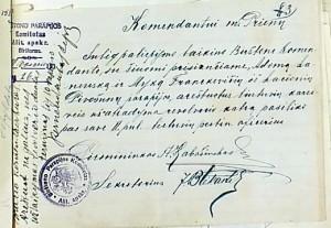Parapijinio komiteto pirmininko A. Kabasinsko sprendimas
