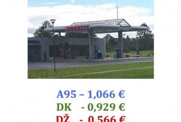 """Degalų kainos Birštono degalinėje """"Borusta"""""""