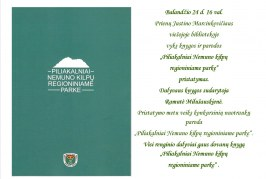 """Knygos """"Piliakalniai Nemuno kilpų regioniniame parke"""" pristatymas"""