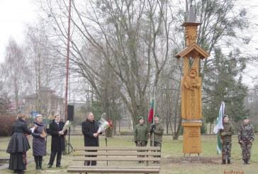 Skriaudžiuose atidengta medinė skulptūra Šimtmečiui (Fotoreportažas)