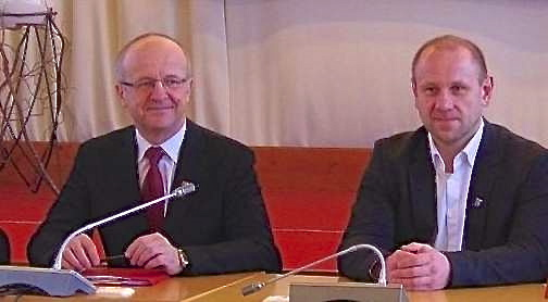 Meras Alvydas Vaicekauskas ir buvęs Savivaldybės administracijos direktorius, Tarybos narys Egidijus Visockas