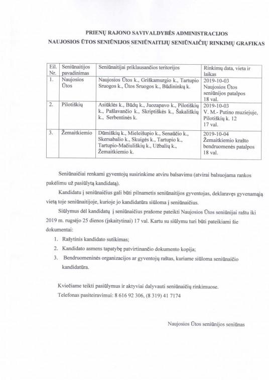 Naujosios Ūtos seniūnijos seniūnaitijų seniūnaičių rinkimų grafikas