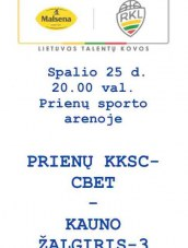 """RKL. Prienų """"KKSC-CBet"""" – Kauno """"Žalgiris-3"""""""