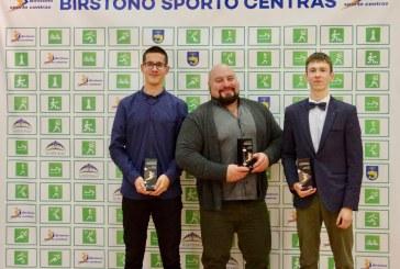 Geriausi 2019 m.Birštonosportininkai – Paulius Černevičius, Paulius Juozaitis ir Vidas Blekaitis