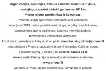 Renkami geriausieji Prienų rajono savivaldybės sportininkai ir sporto komandos