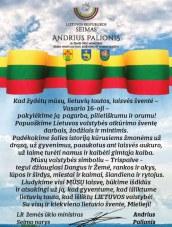 Žemės ūkio ministro, Seimo nario Andriaus Palionio sveikinimas