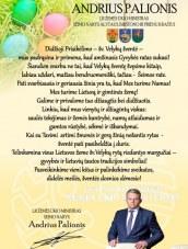 Žemės ūkio ministro, Seimo nario Andrius Palionio sveikinimas su Šv.Velykomis
