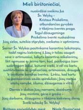 Birštono merės Nijolės Dirginčienės sveikinimas su Šv.Velykomis