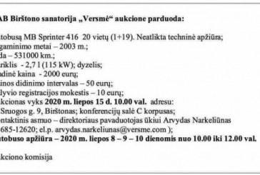 """Sanatorija """"Versmė"""" parduoda autobusą"""