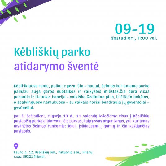 Kėbliškių parkas atnaujintas kvietimas