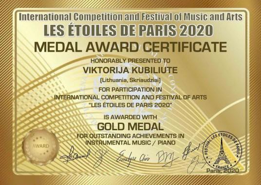MEDAL AWARD CERTIFICATE gold  medal_VIKTORIJA KUBILIUTE