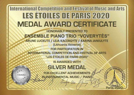"MEDAL AWARD CERTIFICATE silver medal_PIANO TRIO ""VOVERYTĖS""_66"