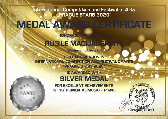 MEDAL AWARD CERTIFICATE silver medal_RUGILE MACIJAUSKAITE