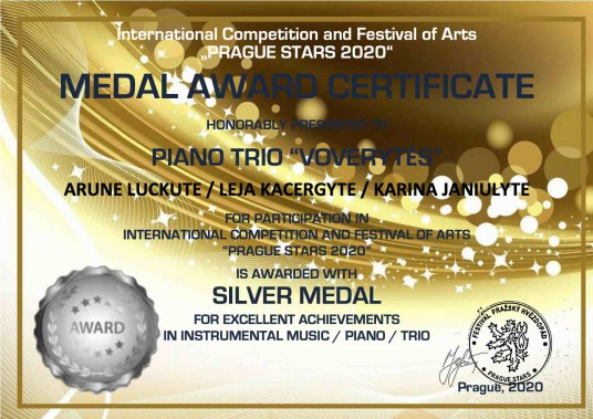 """MEDAL AWARD CERTIFICATE silver medal_TRIO """"VOVERYTĖS"""""""