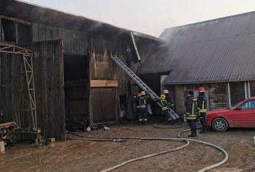 Pakuonyje liepsnojo garažas. Įvykio metu apdegė kombainas, garažo vartai, amonio trąšos