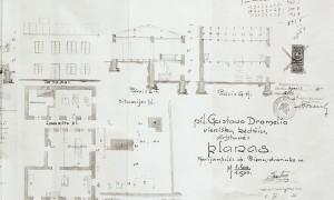 Dromelio kėdžių dirbtuvės pastato planas