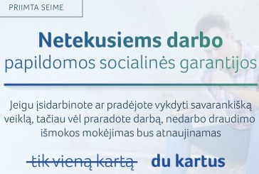 Papildomos socialinės garantijos – darbo netekusiems gyventojams