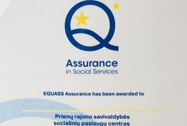 Sukurtiems vertinimo įrankiams – Europos EQUASS kokybės sertifikatas