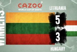Lietuvos komanda PDC pasaulio taurės turnyre įveikė Vengrijos rinktinę