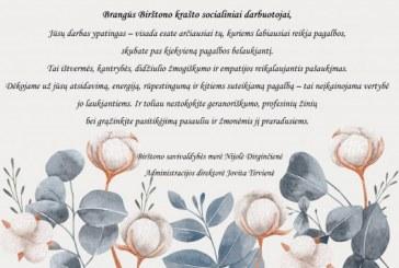 Birštono savivaldybės vadovų sveikinimas su Socialinių darbuotojų diena