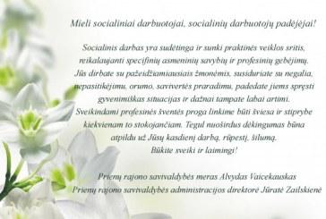 Prienų rajono savivaldybės vadovų sveikinimas su Socialinių darbuotojų diena